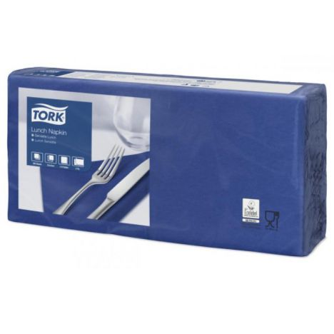 Tork lunchservet 33x33cm 2-laags 1/4-vouw midnight blue 10x200