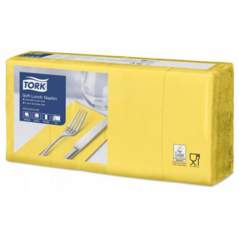 Tork lunchservet 33x33cm 3-laags 1/8-vouw passion yellow 10x150